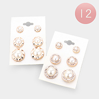 12Pairs - Patterned Metal Trim Pearl Earrings