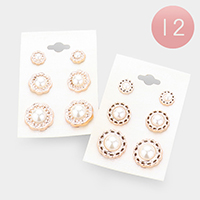 12 SET OF 3 - Patterned Metal Trim Pearl Earrings