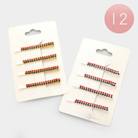 12 Set of 4- Crystal Pave Color Block Hair Bobbie Pin