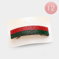12PCS - Crystal Pave Color Block Hair Barrettes