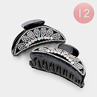 12PCS - Crystal Embellished Celluloid Acetate Claw Clips