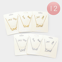 12PCS - 'Love' Metal Pendant Necklaces