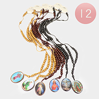 12PCS - Holy Family Oval Pendant Wood Beads Necklaces