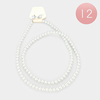 12PCS - Faux Pearl Necklaces