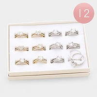 12 Set of 2 - Assorted Size Crystal Round Pave Rings