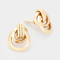 Multi Round Metal Clip On Earrings