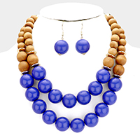 Wood Ball Double Strand Statement Necklace
