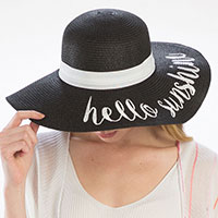 'Hello Sunshine' Embroidery Straw Floppy Sun Hat