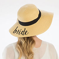 'Bride' Embroidery Straw Floppy Sun Hat