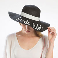 'Bride Tribe' Embroidery Straw Floppy Sun Hat