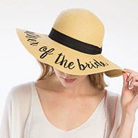 'Mother of the Bride' Embroidery Straw Floppy Sun Hat