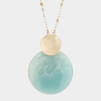 Natural Stone Disk Pendant Necklace