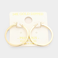 Gold Dipped Metal Hoop Pin Catch Earrings