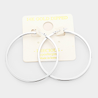 White Gold Dipped Metal Hoop Pin Catch Earrings