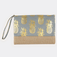 Metallic Pineapple Pattern Pouch Clutch Bag