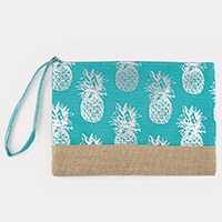 Metallic Pineapple Pattern Pouch Bag