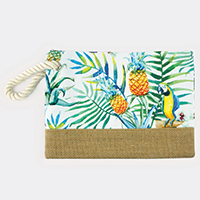 Tropical Leaves Parrot Pouch Bag