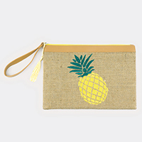 Embroidered Pineapple Pouch Bag