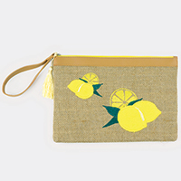 Embroidered Lemon Pouch Bag
