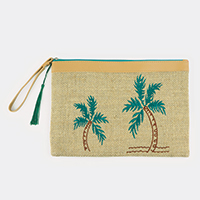 Embroidered Palm Tree Pouch Bag