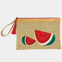 Embroidered Watermelon Pouch Bag