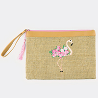 Embroidered Flamingo Flower Pouch Bag