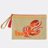 Embroidered Lobster Pouch Bag