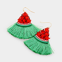 Crystal Watermelon Tassel Dangle Earrings