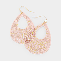 Cut Out Teardrop Hammered Metal Earrings