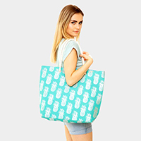 Metallic Pineapple Pattern Beach Bag