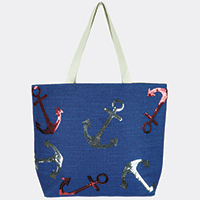 Sequin Anchor Beach Tote Bag