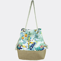 Tropical Leaves Parrot Bucket Bag