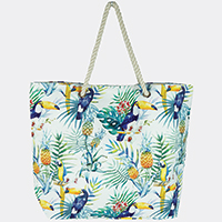 Tropical Leaves Parrot Beach Bag