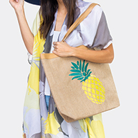 Embroidered Pineapple Beach Bag