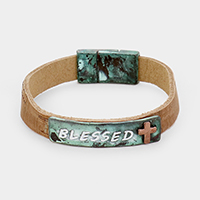 'Blessed' Metal Cross Leather Magnetic Bracelet