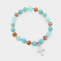 Natural Stone Bead Cross Charm Stretch Bracelet