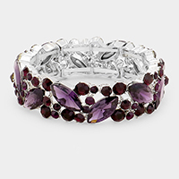 Crystal Glass Marquise Evening Stretch Bracelet