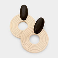 Cut Out Round Textured Wood Earrings