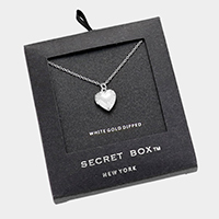 Secret Box _ White Gold Dipped Heart Locket Pendant Necklace