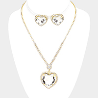 Rhinestone Pave Crystal Heart Pendant Necklace