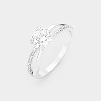 White Gold Dipped Cubic Zirconia Ring