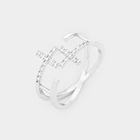 White Gold Dipped Cubic Zirconia Cross Cuff Ring