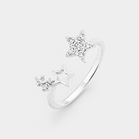 White Gold Dipped Cubic Zirconia Star Cuff Ring