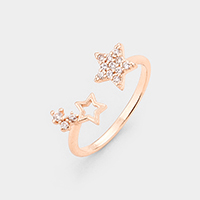 Gold Dipped Cubic Zirconia Star Cuff Ring
