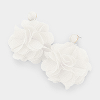 Mesh Floral Thread Ball Dangle Earrings
