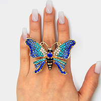 Crystal Embellished Butterfly Stretch Ring