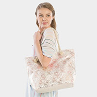 Metallic Rose Pattern Beach Tote Bag