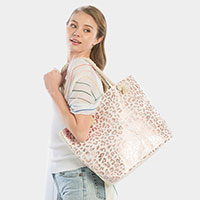 Metallic Leopard Pattern Beach Tote Bag