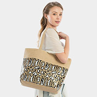 Sequin Leopard Pattern Beach Tote Bag