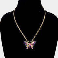 Crystal Pave Small Butterfly Pendant Necklace